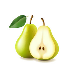 Pear and slice isolated on white vector image
