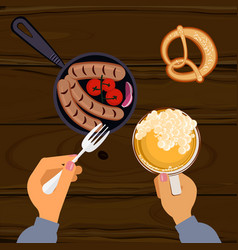 Person eating grilled sausages vector