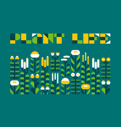 poster with plant life lettering and wild herbs vector image