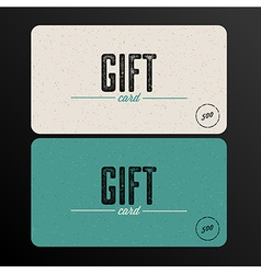 Retro Gift card teal template vector