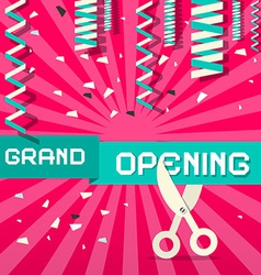 Retro Grand Opening with Confetti and Scisso vector image