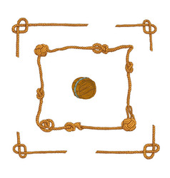 rope frames and rope knots isolated set vector image