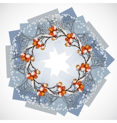 Round wreath with rowan vector