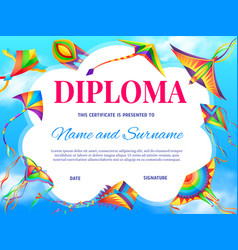 school education diploma template with kite vector image