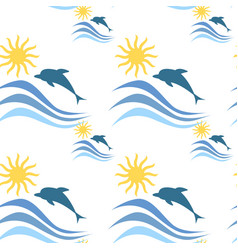 Sea waves with dolphins summer vacation seamless vector