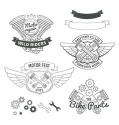 Set biker vintage labels oldschool motor logo vector
