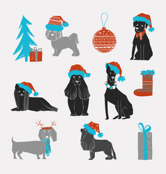 set christmas dogs with santa hat vector image
