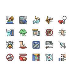 Set diabetes flat color icons heartburn vector