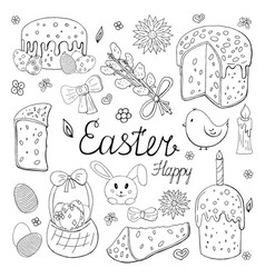 set happy easter elements black and white vector image
