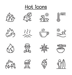 set heat related line icons contains such vector image
