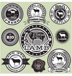Set labels with sheep and lamb vector