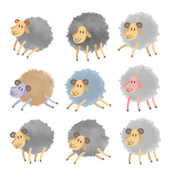 Set of cartoon lambs vector