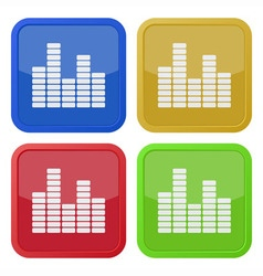 set of four square icons with equalizer vector image