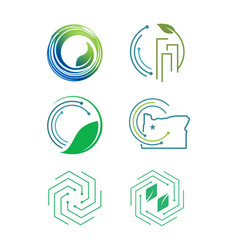 set of modern eco friendly icon vector image