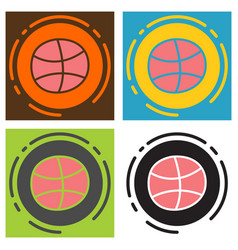 set of unusual look dribbble social media icon vector image