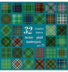 Set thirty two tartan seamless pattern vector