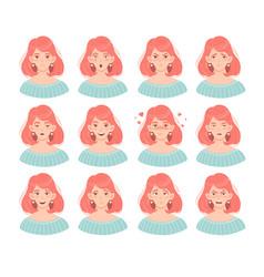 Set twelve female face emoticons vector