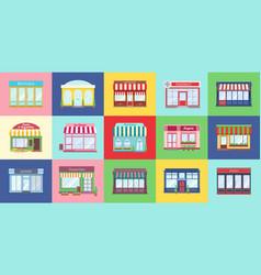 Shop buildings cartoon store facades flat vector