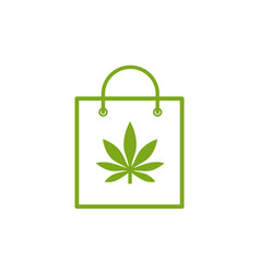 shopping bag of medicinal cannabis bag with vector image
