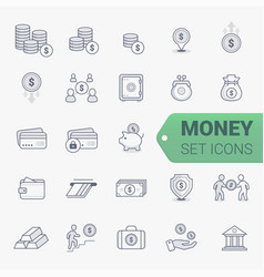 simple set of money related line icons vector image