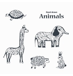 Sketch of Black and White Animals vector