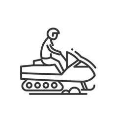 snow racer - line design single isolated icon vector image