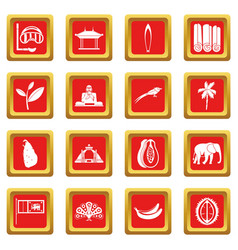 sri lanka travel icons set red vector image