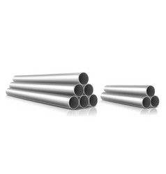 Stack steel pipes isolated on white background vector