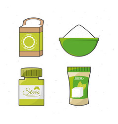Stevia natural sweetener leaves and differents vector