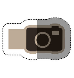 Sticker monochrome emblem with analog camera vector