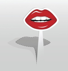 Sticker with red lips vector image