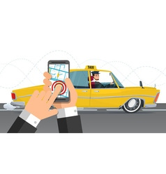 Taxi service Smartphone and touchscreen city vector
