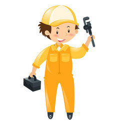 Technician with tool and box vector