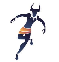 Tribal zodiac taurus man with bull head fangs vector