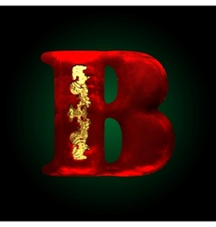 Velvet b letter with gold vector