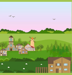village houses in a field green nature vector image