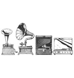 vintage phonograph and gramophone set vector image