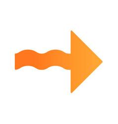 Wavy orange arrow flat design long shadow color vector