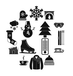 winter icons set simple style vector image