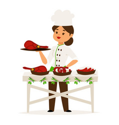 woman cook chef presents luxury ham restaurant vector image