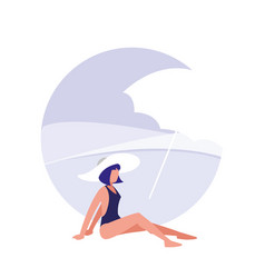 woman on the beach with swimsuit vector image