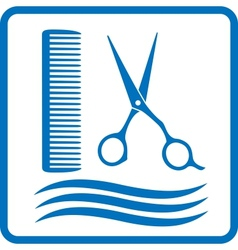 blue hairdresser sign vector image