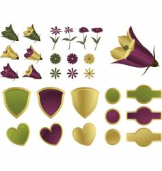design elements flowers and shields vector image vector image