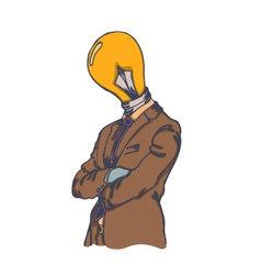 Isolated cartoon creative lightbulb head man vector image