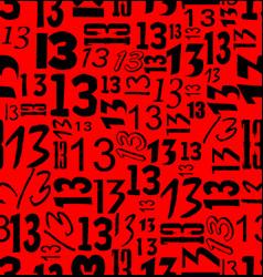 magic unlucky number thirteen typographical vector image