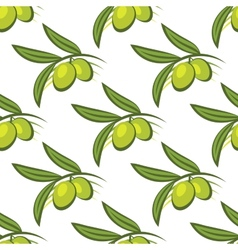Seamless pattern of fresh green olives on a twig vector image vector image