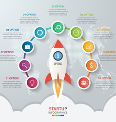 Startup circle infographics with rocket 9 options vector image vector image