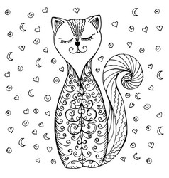 doodle cat pattern and hearts vector image