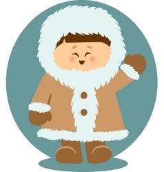 Eskimo Kid Waving Hello Isolated vector image vector image