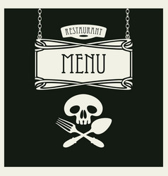menu with human skull with a spoon and fork vector image vector image